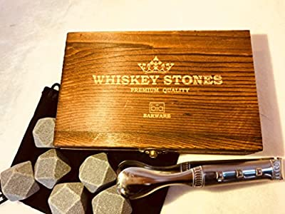 B?a Barware Whiskey Stones Gift Set | Premium Diamond-Shaped Sipping Stones with Velvet Pouch, Tongs & Chic Wood Case | Cocktail Chilling Rocks | Maintain the Flavor of Your Whiskey, Bourbon, etc.