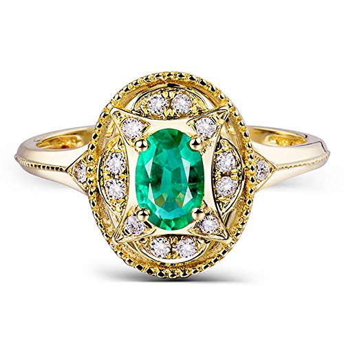 Lanmi Jewelry Vintage 14kt Yellow Gold Natural Brilliant Diamonds Oval Shape Green Emerald Rings ()