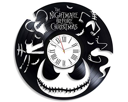 Kovides King of Halloween Town Art Vintage Vinyl Record Clock Unique Decoration New Year Gifts Nightmare Before for Kids NBC Cartoon Disney Wall Clock Handmade Decor for Nursery