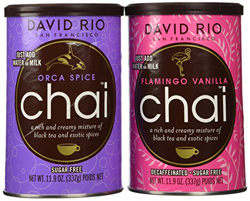 (David Rio Chai Mix, Sugar Free 2 Caniser Variety Pack, 11.9 Oz)