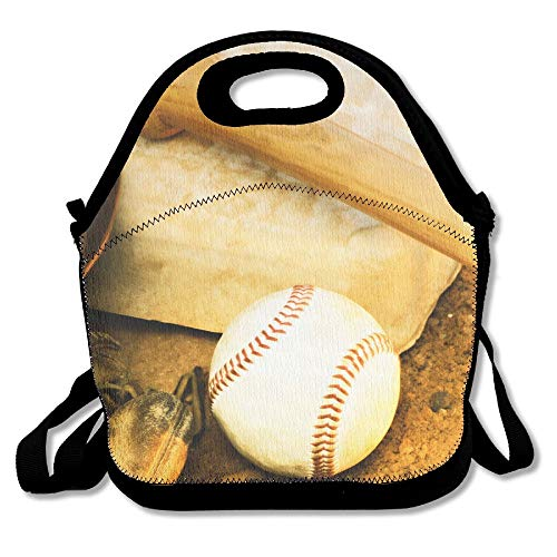 Neoprene Lunch Tote - Baseball Wallpaper Waterproof Reusable Lunch Bags Boxes For Men Women Adults Kids Toddler Nurses With Adjustable Shoulder Strap - Best Travel Bag