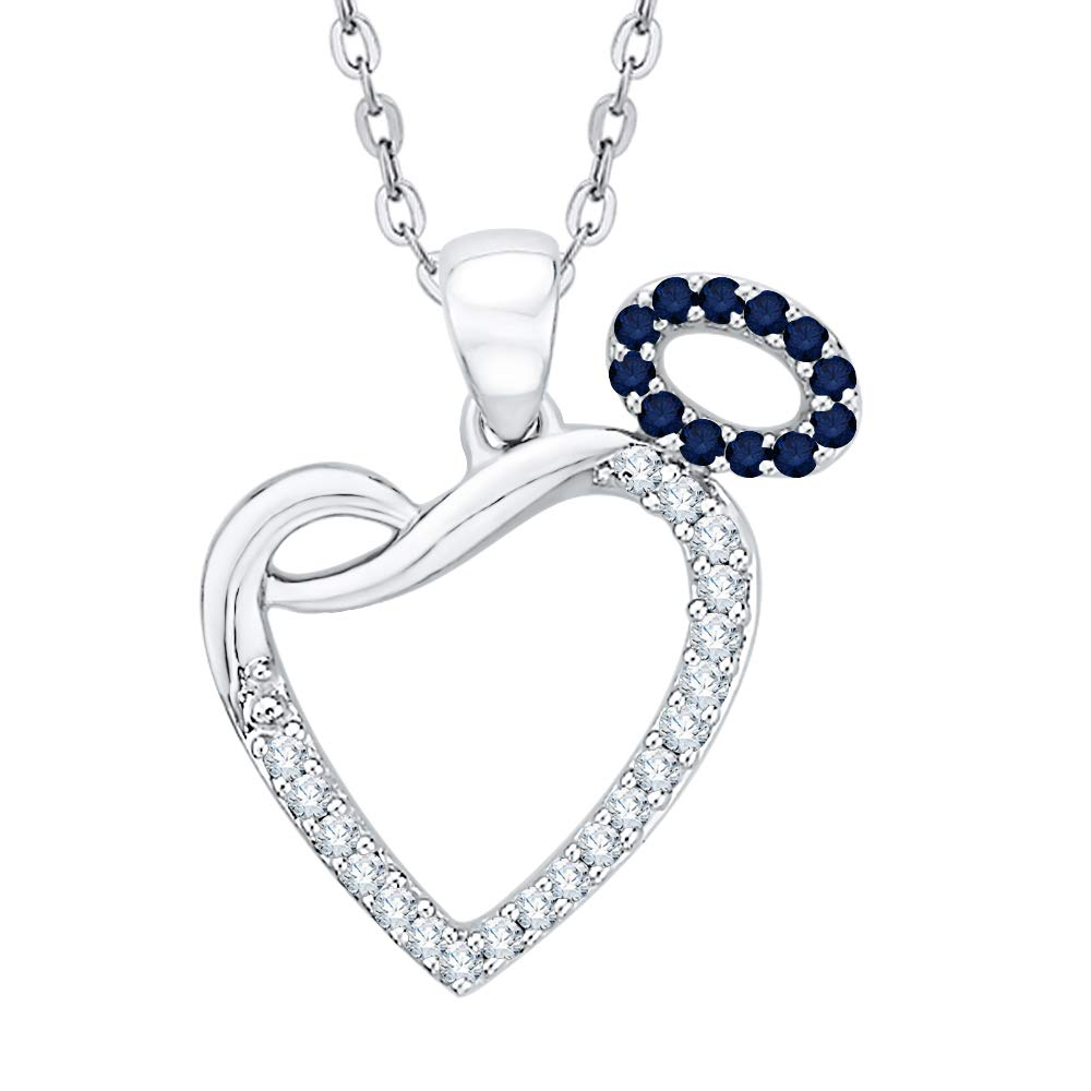 1//6 cttw, G-H, I2-I3 KATARINA Diamond and Gemstone Angel Heart Pendant Necklace in Sterling Silver