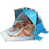 Cheap Large Size Easy Up Beach Tent, Odoland Anti-UV UPF 50+ Shelter, Instant Pop Up Beach Umbrella Tent Sun Sport Shelter for Beach, Party, Picnics, Backyard BBQs and Other Outdoor Recreations