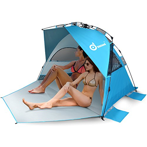 Odoland Large Size Easy Up Beach Tent, Anti-UV UPF 50+ Shelter, Instant Pop Up Beach Umbrella Tent Sun Sport Shelter for Beach, Party, Picnics, Backyard BBQs and Other Outdoor Recreations