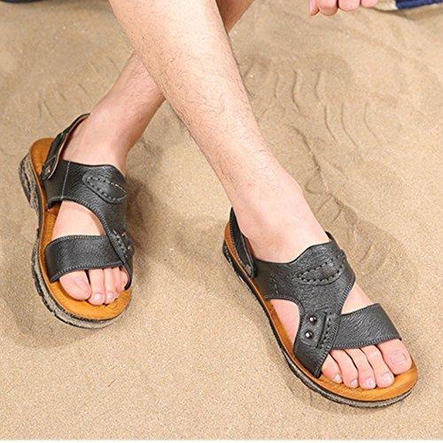 Flop Uomo Sandali Per Sandali Flip Pelle Infradito Open HGDR Da Traspiranti Sandali Spiaggia Sportivi Black In Toe g1ZXYq