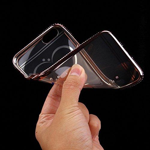 Phone Taschen & Schalen Für iPhone 6 Plus & 6s Plus Diamond verkrustete Liebe Muster Galvanisieren Rahmen TPU Schutzhülle ( Color : Rose Gold )