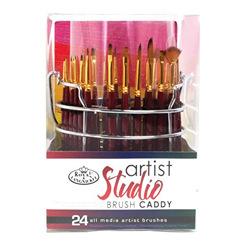 Royal & Langnickel Artist Studio Caddy with 18 Brushes, for Acrylic, Watercolor and Oil Painting