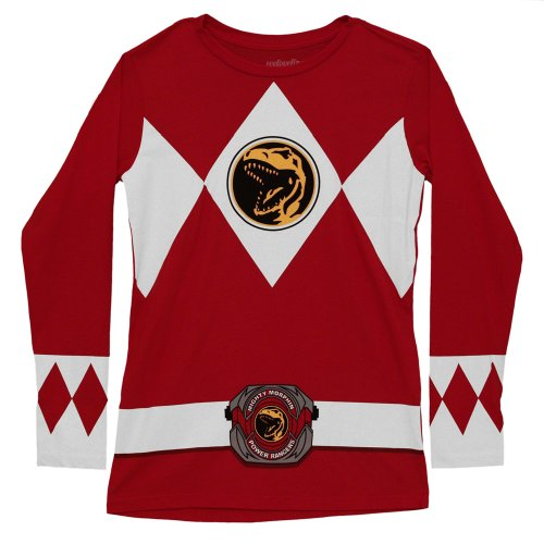 Mighty Morphin Power Rangers Red Long Sleeve Costume Adult T-Shirt Tee - (Red Power Rangers Long Sleeve Costumes Shirt)