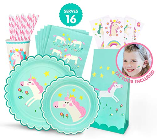 (Hugo & Emmy Unicorn Birthday Party Supplies Set for Girls - Includes Plates, Cups, Napkins, Straws, Favor Bags and Tattoos - 128 Pieces (Serves 16))