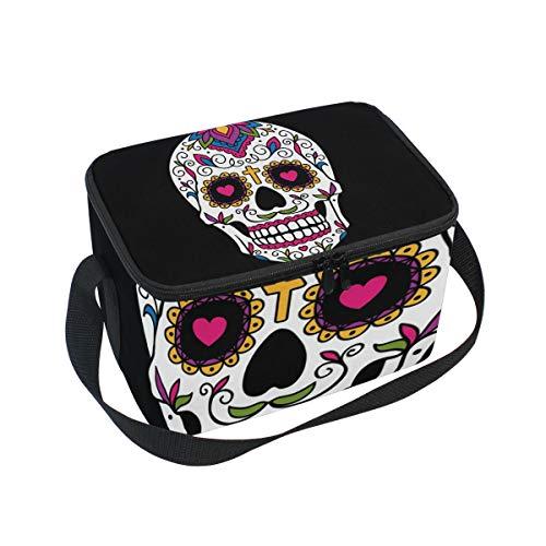 Lunch Bag Art Mexican Sugar Skull Cooler for Picnic Shoulder Strap Lunchbox