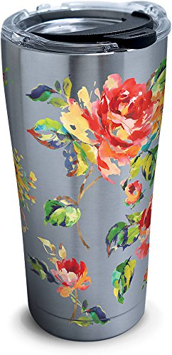 Tervis 1269469 Fiesta - Floral Bouquet Stainless Steel Tumbler with Clear and Black Hammer Lid 20oz, Silver (Tumbler Tervis Floral)