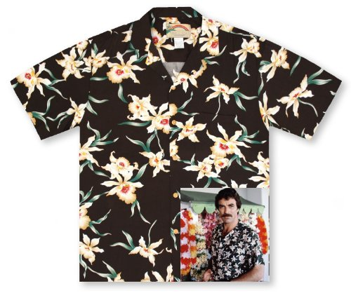 Island Paradise Hawaiian Shirt (Paradise Found Star Orchid Black Tom Selleck Magnum PI #2 Hawaiian Shirt BLACK M)
