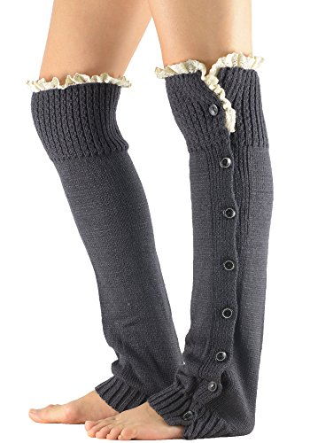 Vintage Button Boot Cuffs Socks with Lace Trim Womens Boutique Long Tube Leg Warmer Dark Grey from American Trends