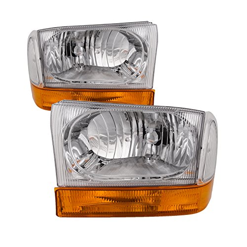 Headlights Depot Replacement for Ford SuperDuty Trucks Euro Chrome 4-Piece Headlights Set w/Stock Corner (F350 Euro Headlights)