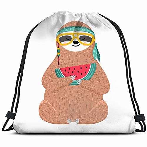 Cute Baby Sloth Eating Watermelon Hipster Animals Wildlife Food And Drink Drawstring Backpack Sports Gym Bag For Women Men Children Large Size With Zipper And Water Bottle Mesh Pockets (Cartoon Characters From The 60s And 70s)