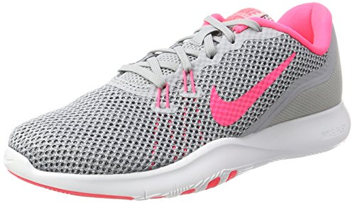 Nike Womens W Flex Trainer 7, WOLF GREY/RACER PINK-STEALTH, 9.5 US
