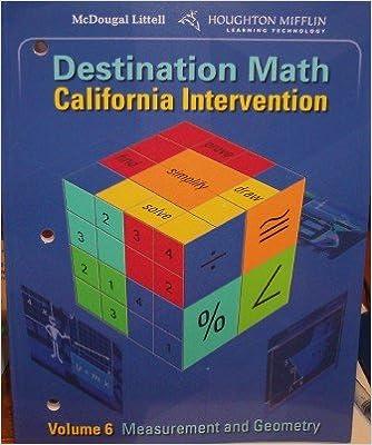 Amazon com: McDougal Littell Destination Math California: Volume 6