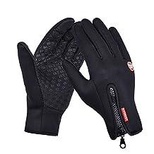 Winter Touch Screen Gloves Waterproof Windproof Glove for Ski Snowboard Biking Motorcycle Full Finger Gloves (M, Black)