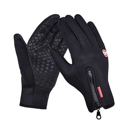 Winter Touch Screen Gloves Waterproof Windproof Glove for Ski Snowboard Biking Motorcycle Full Finger Gloves (L, Black)