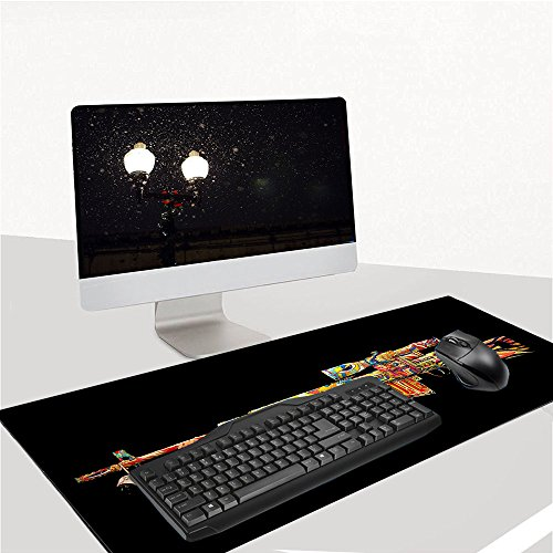 """Ruifengsheng MauspadGaming XXL & Groß Extended Wasserdicht Mouse Mat für PC, Computer und Laptop - 35.4""""x15.7"""" (90x40 Gun016)"""