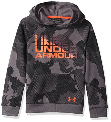Under Armour Boys Rival Wordmark Hoodie, Charcoal (021)/Radio Red, Youth Large by Under Armour (Image #1)