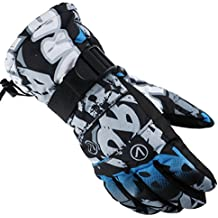 [Patrocinado] SF.Z Ski Gloves, Snowboard Cycling Snowmobile Biking Athletic Gloves, Waterproof Windproof Snow Proof Warm Breathable Fashion Comfortable Flexible Gloves for Men(Gray and Blue Graffiti/Medium)
