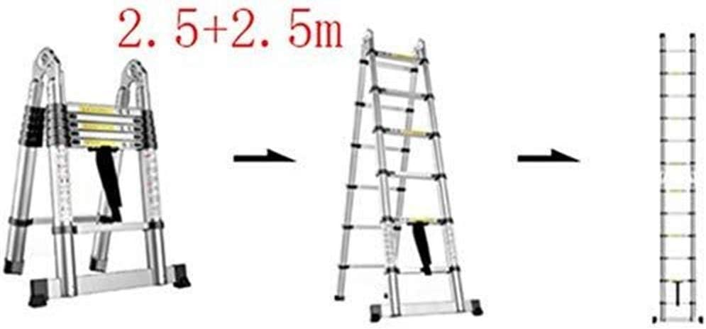Escalera telescópica, Escalera, multi-función escalera plegable de aluminio, escalera telescópica portátil, bricolaje escalera extensible, Capacidad de carga 150 kg (Color : 2.5+2.5m): Amazon.es: Bricolaje y herramientas