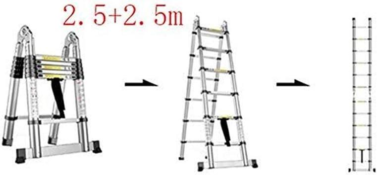 ZGQA de tijera Escalera, multi-función escalera plegable de aluminio, escalera telescópica portátil, bricolaje escalera extensible, Capacidad de carga 150 kg (Color : 2.5+2.5m): Amazon.es: Bricolaje y herramientas