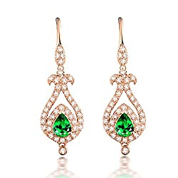 Diamond Studded Tsavorite Drop Earrings