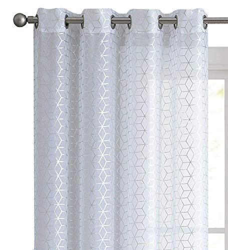 VCNY Home 2 Pack Aiden Metallic Geometric Chic Matte Sheer Voile Grommet Window Curtains - Assorted Sizes & Colors (White, 96 in. Long)