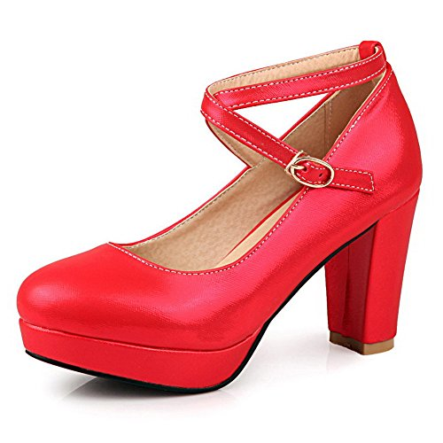 AllhqFashion Mujer Sólido Pu Tacón Alto Hebilla Puntera Cerrada Puntera Redonda De salón Rojo