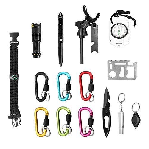 17 In 1 SOS Emergency Survival Equipment Kit Keychain Knife Tactical Hiking Gear Tools