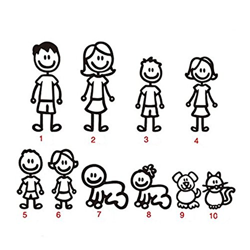 Price comparison product image 10 STICK FIGURE FAMILY your stick figure family Pet Cat Dog Stickers for Car Windows Bumper Phone Notebook Vinyl Decal