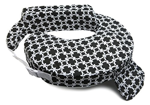 My Brest Friend Inflatable Travel Nursing Pillow - Maternity Breastfeeding Support, Black & White Marina Paisley (Best Friend Nursing Pillow)