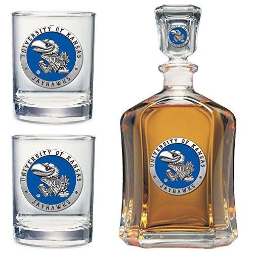 Price comparison product image Heritage Metalwork Kansas Jayhawks KU Decanter and Whiskey Rock Glasses Set