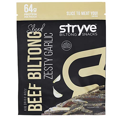 Stryve Keto & Paleo Protein Snack | Air Dried Beef Biltong, Lighter Than Beef Jerky | High Protein, Low Sugar, Low Carb, No Fat, No Gluten, No Soy | Zesty Garlic, 4oz Bag, 1-Pack