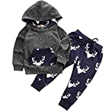 Oklady Toddler Infant Baby Boys Deer Long Sleeve Hoodie Tops Sweatsuit Pants Outfit Set(0-3 Months)