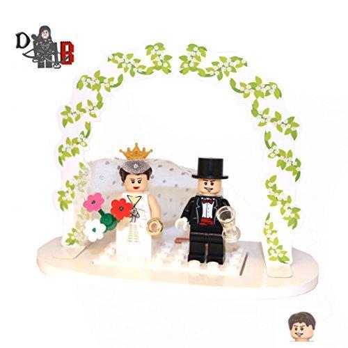 Custom Bride & Groom Minifigures Wedding topper cake table decoration set customisable.