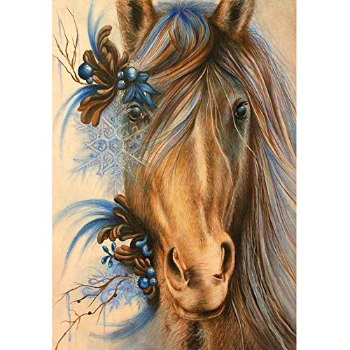 BeautyShe Horse DIY 5D Diamond Painting by Number Kit for Adult, Full Drill Diamond Embroidery Dotz Kit Home Wall Decor-11.8 x 15 inch