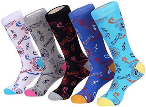 (Marino Mens Patterned Dress Socks, Colorful Fun Socks, Fashion Cotton Socks - 5 Pack - Paisley Design Collection - 10-13 )