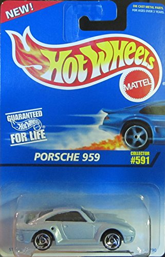 Saw Blade Wheels - Mattel Hot Wheels 1996 1:64 Scale Light Blue Porsche 959 Die Cast Car Saw Blade Wheels Collector #591