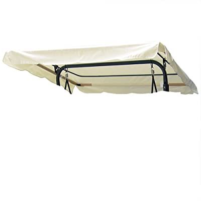 "Durable 77""x43"" Swing Canopy Replacement Porch Top Cover Park Seat Furniture Patio - Beige : Garden & Outdoor"