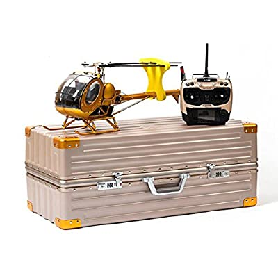 Schwarzer 300C Hughes 9CH RC Helicopter Brushless RTF All Metal high Simulation Remote Control Helicopter Static Aircraft Model (Golden)