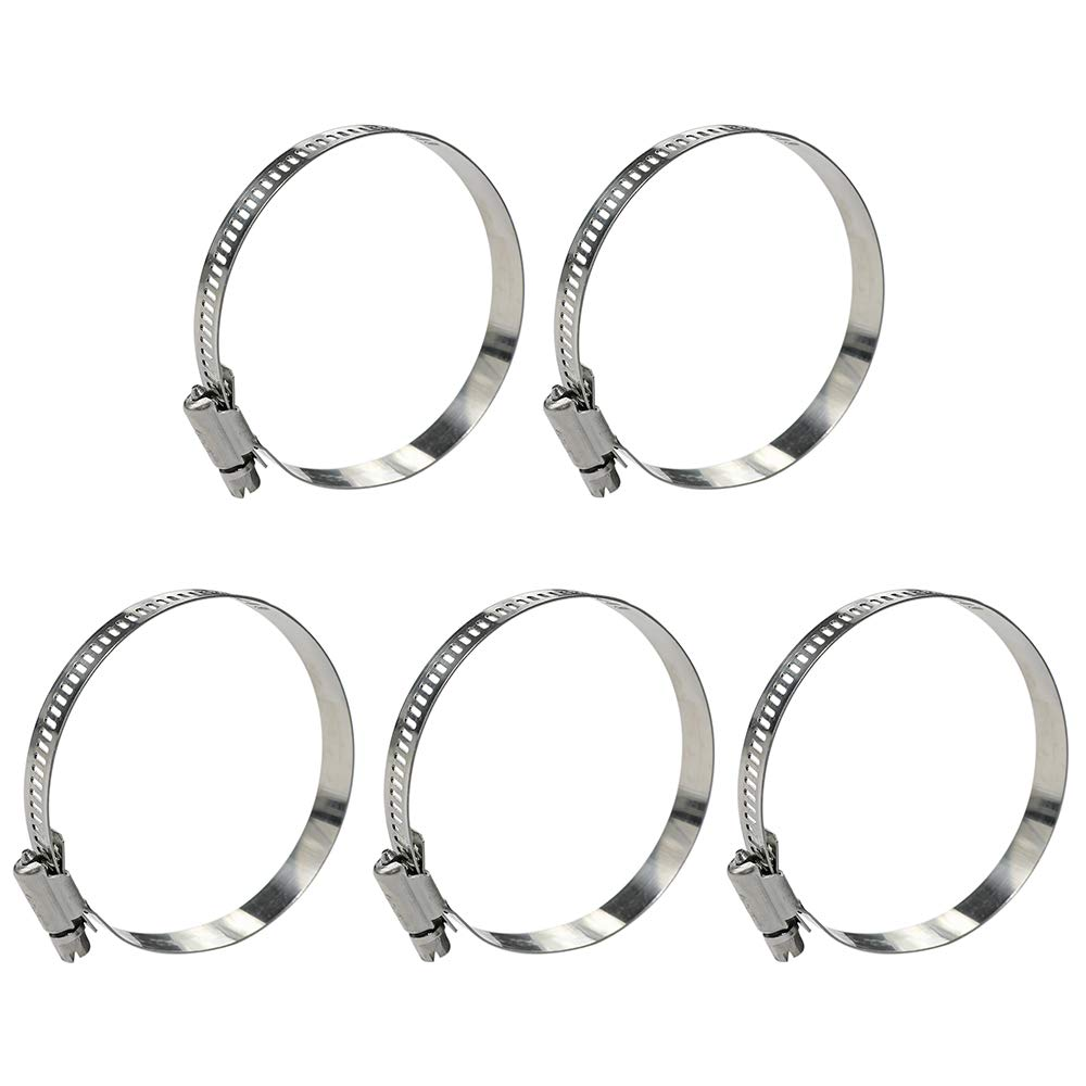 WYKA 141-165mm Range Worm Gear Hose Clamp,5 Pack Adjustable 304 Stainless Steel Pipe Pipe Strap clamps 5.5 To 6.5 Inch DIA