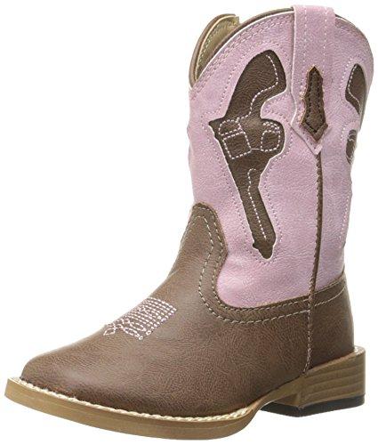 Roper Pistols Square Toe Cowboy Boot (Toddler), Brown, 5 M US Toddler