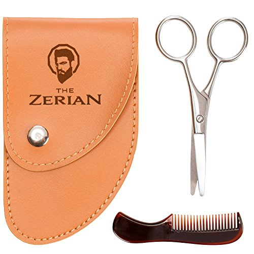 THE ZERIAN Beard & Mustache Scissors With Comb For Precise Facial Hair Trimming -Beards, Mustache & Eyebrows - Stainless Steel & BONUS a Digital Booklet