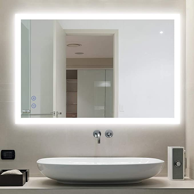 Bathroom Mirror with LED Lighting Wall Mirror Mirror Audio Clock Weather Makeup L77