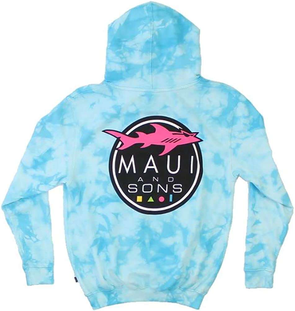 Maui & Sons Men's Tie-Dyed Shark Logo Hoodie