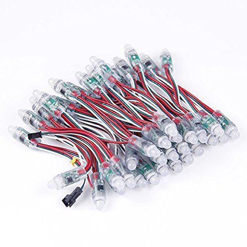 Agile-shop 50pcs Ws2811 RGB Full Color 12mm Pixels Digital Addressable LED String Dc 5v Fa