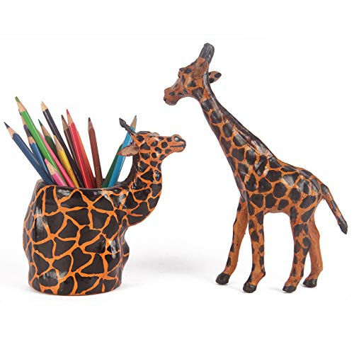 Handcrafted Leather Giraffe - Black & Yellow with Giraffe Office Desk Organizer Pen Stand